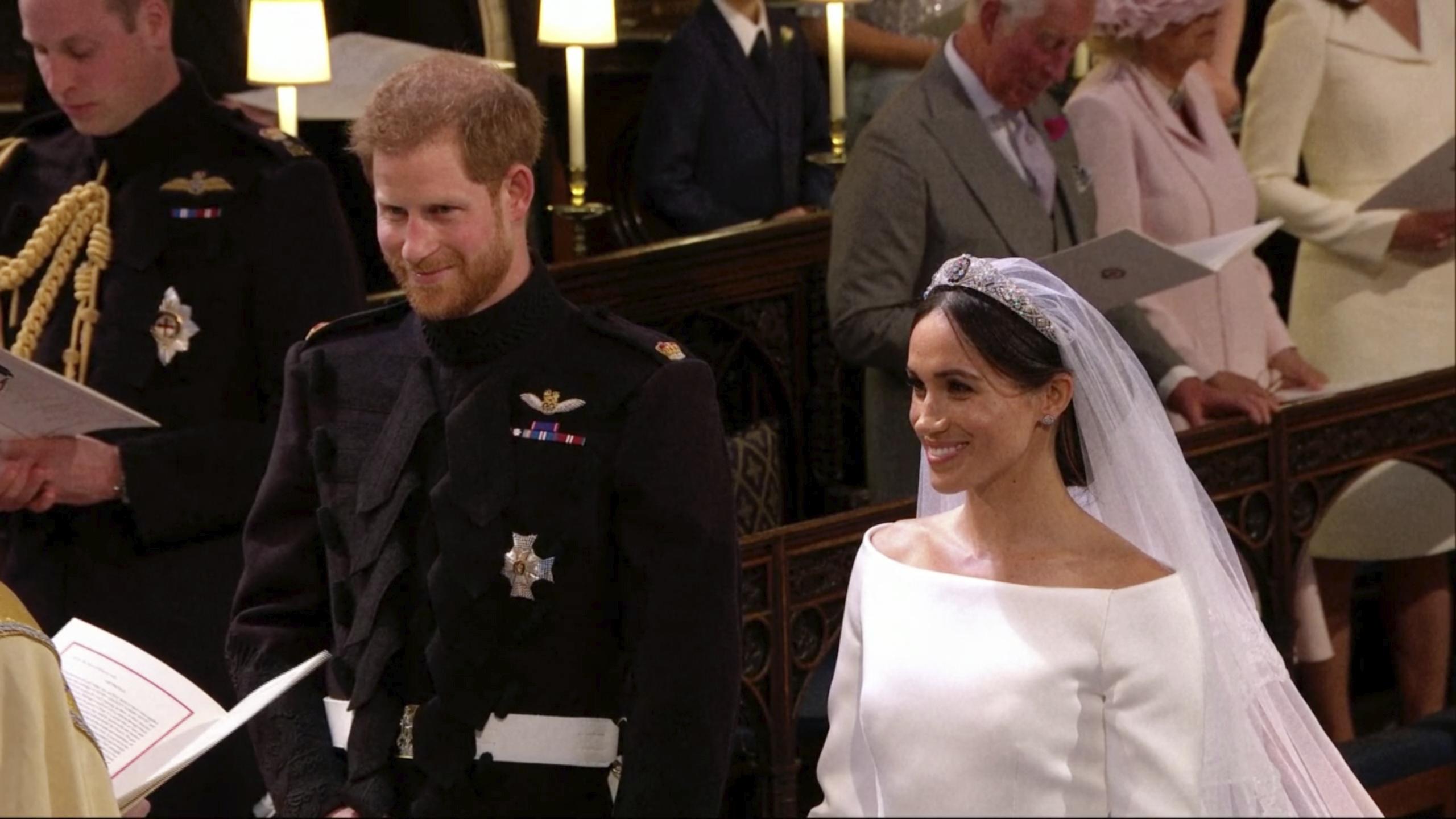Harry y Meghan tuvieron muchos momentos de complicidad durante la boda que se reflejan en sus gestos y miradas. (Fotos: AP)