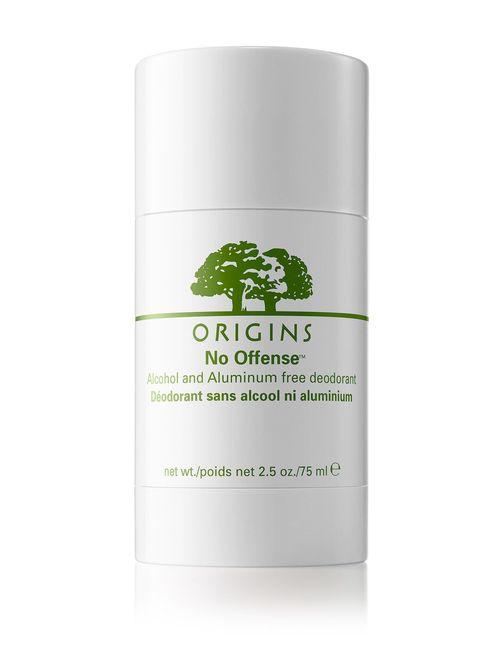 Origins No Offense Alcohol and Aluminum Free Deodorant - Desodorante suave que cuenta con una mezcla de aceite esencial de naranja, grosella negra y jazmín que proporciona horas de protección sin dejar residuos. Elimina el olor a sudor y es libre de alcohol y aluminio. (Suministrada)