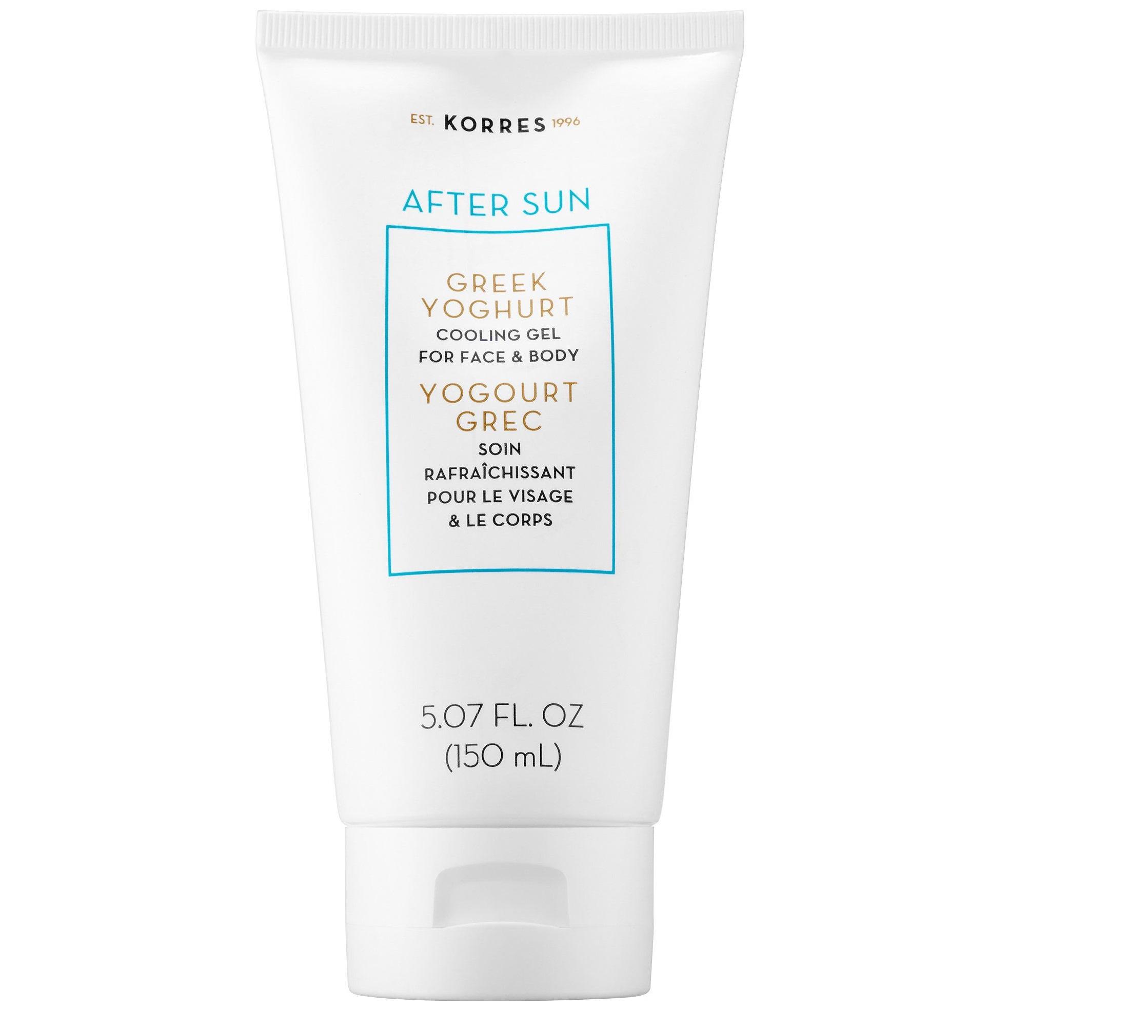 Korres After Sun Yoghurt Cooling Gel for Face and Body para todo tipo de piel. Calma la piel con una formula en la que predomina el yogur griego y que a la vez combate la deshidratación y la rojez. Disponible en Sephora. (Suministrada)