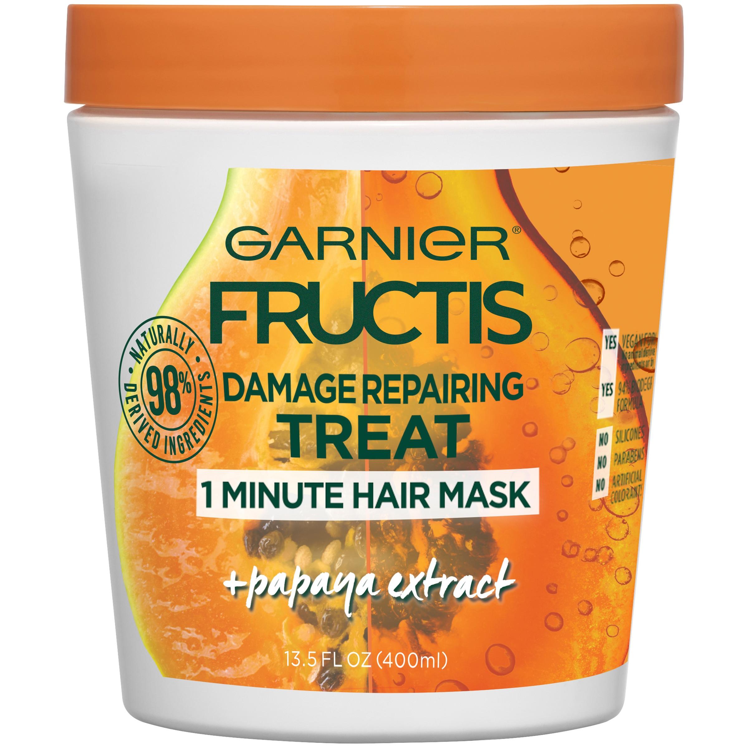 Damage Repairing Treat 1 Minute Hair Mask + Papaya Extract – ¿Tienes poco tiempo? Esta mascarilla de Garnier para el cabello te permite reparar la hebra en tan solo un minuto, dejando el cabello suave y manejable. Consíguelo en farmacias y tiendas.  (Suministrada)