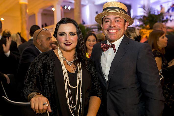 Margaret Colón y Jorge Ramírez en la celebración del centenario del Antiguo Casino de Puerto Rico.