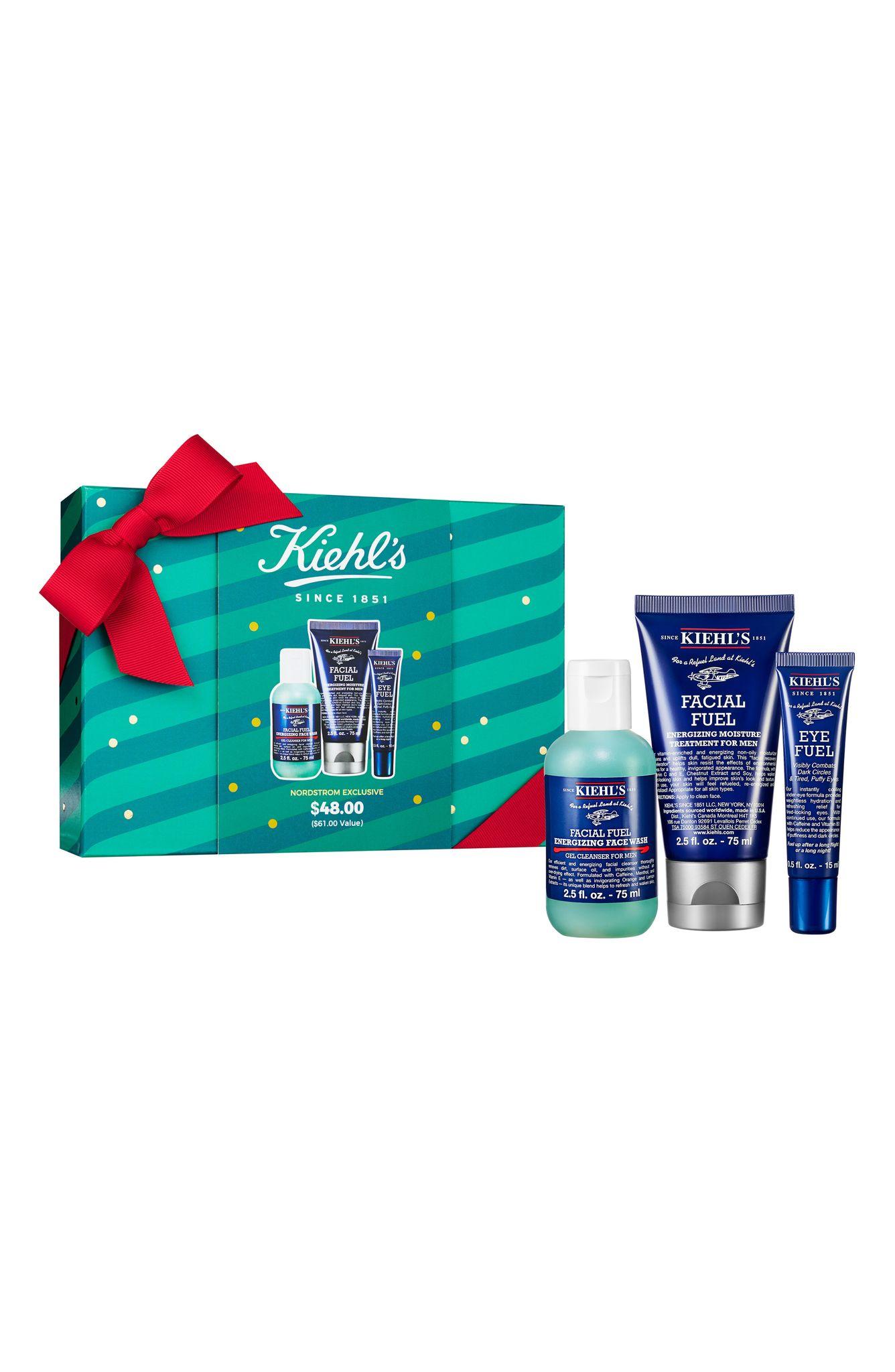 Estuche para hombre Facial Fuel de Kiehl's para caballero, que incluye limpiadora energizante, humectante y crema para ojos. (Suministrada)