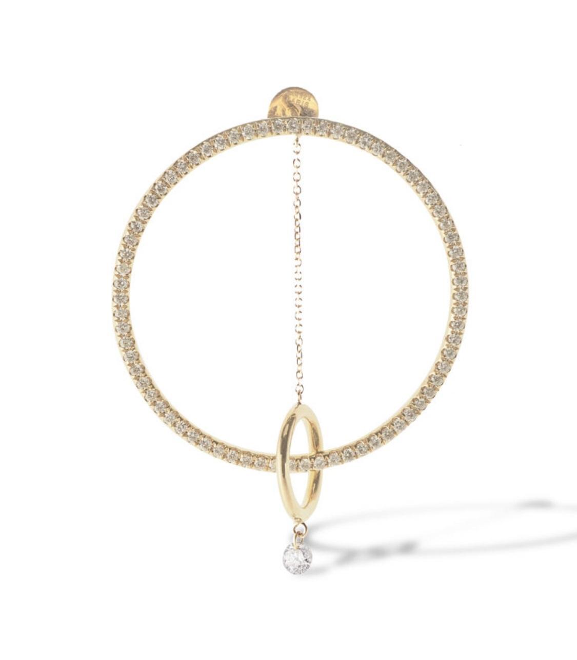 Arete en oro de 18 kilates y diamantes pavé de la línea Parsee Paris, de Lido Jewelers.
