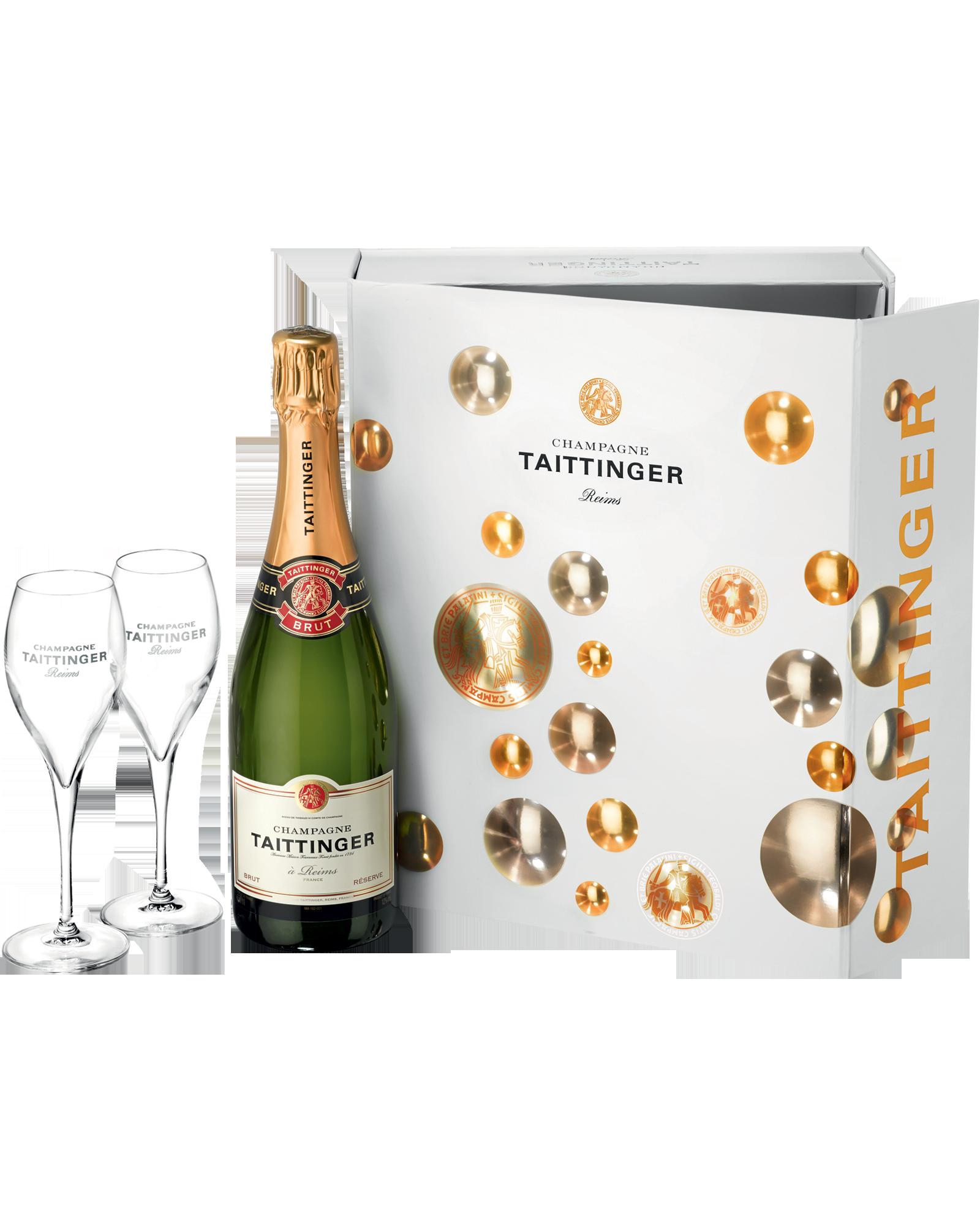 Estuche de champán Taittinger que viene con dos copas, de El Hórreo de V. Suárez.