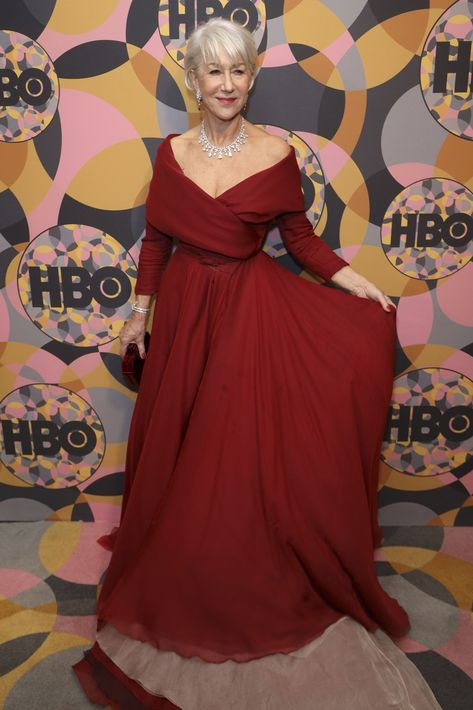 Helen Mirren en el afterparty que celebró HBO en el Hotel Beverly Hilton (Willy Sanjuan/Invision/AP)