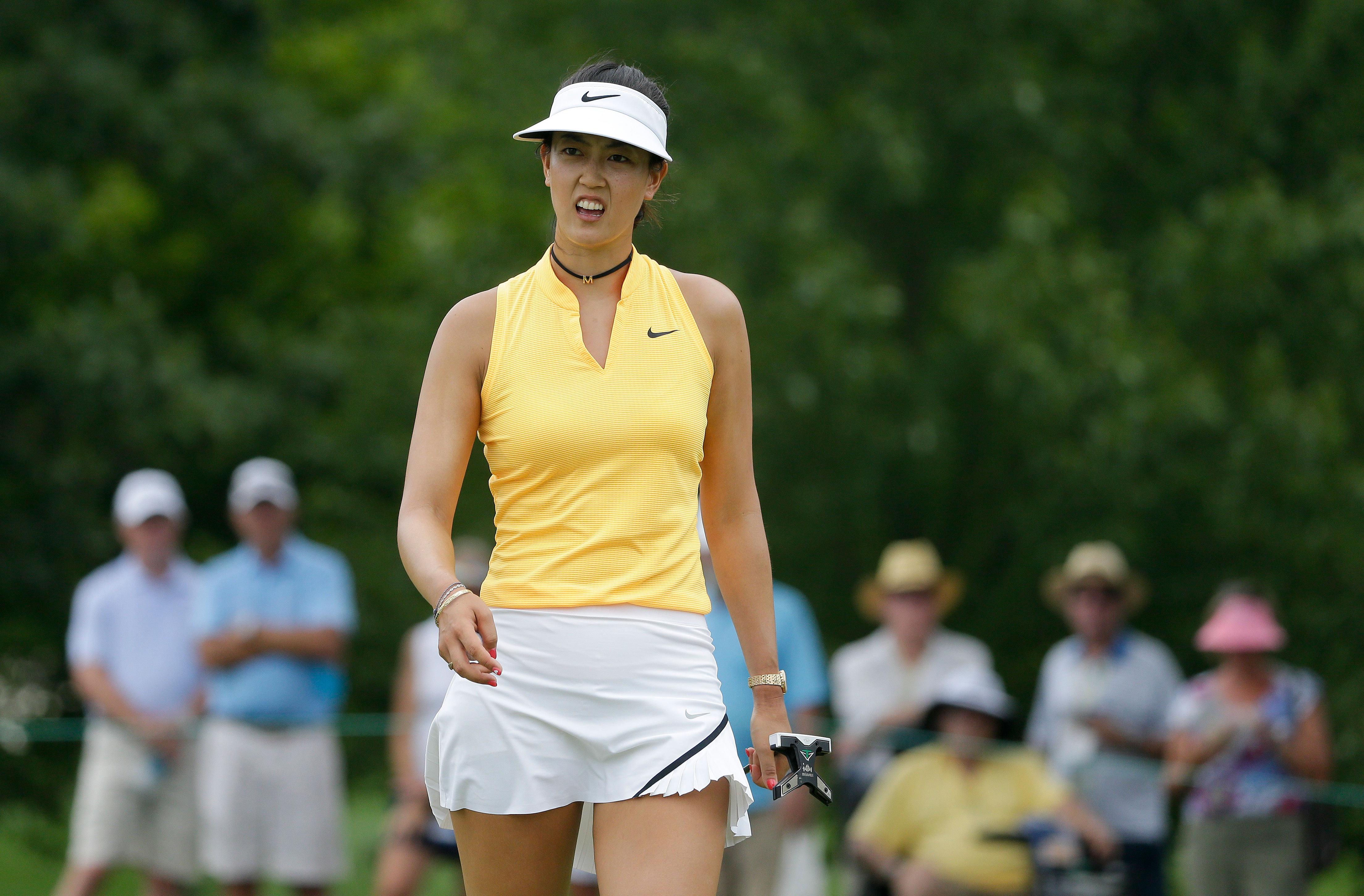 Otra imagen de Michelle Wie, durante el  U.S. Women's Open. Foto AP.