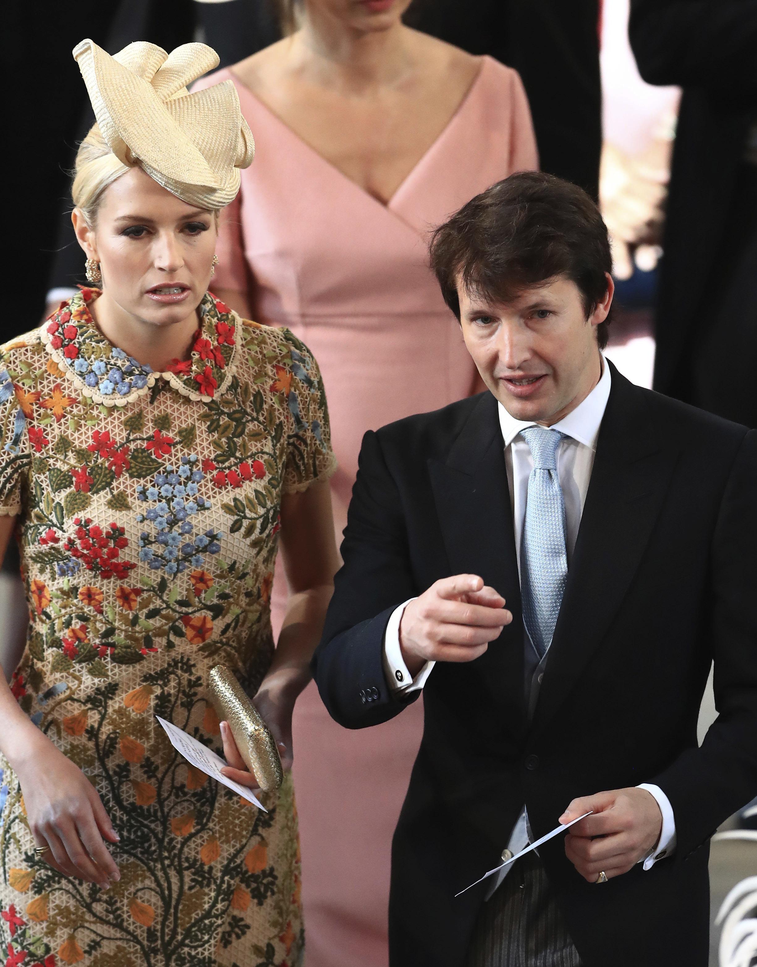 James Blunt y su esposa en la boda de Harry y Meghan. (Foto: AP)