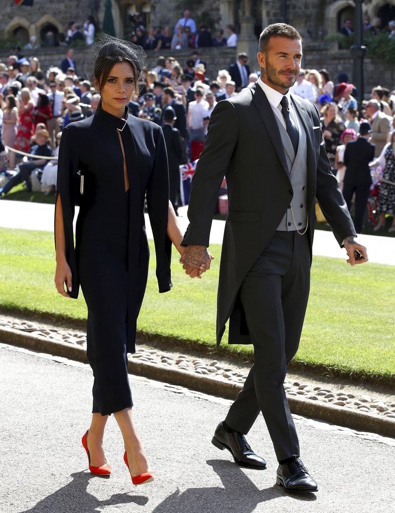 David y Victoria Beckham a su llegada a la capilla de St. George para la boda real. (Foto: AP)