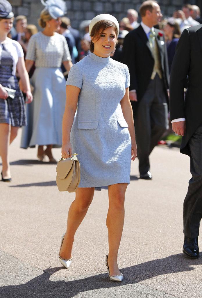 La princesa Eugenie, hija del príncipe Andrew, llega a la boda de Harry y Meghan. (Foto: AP)