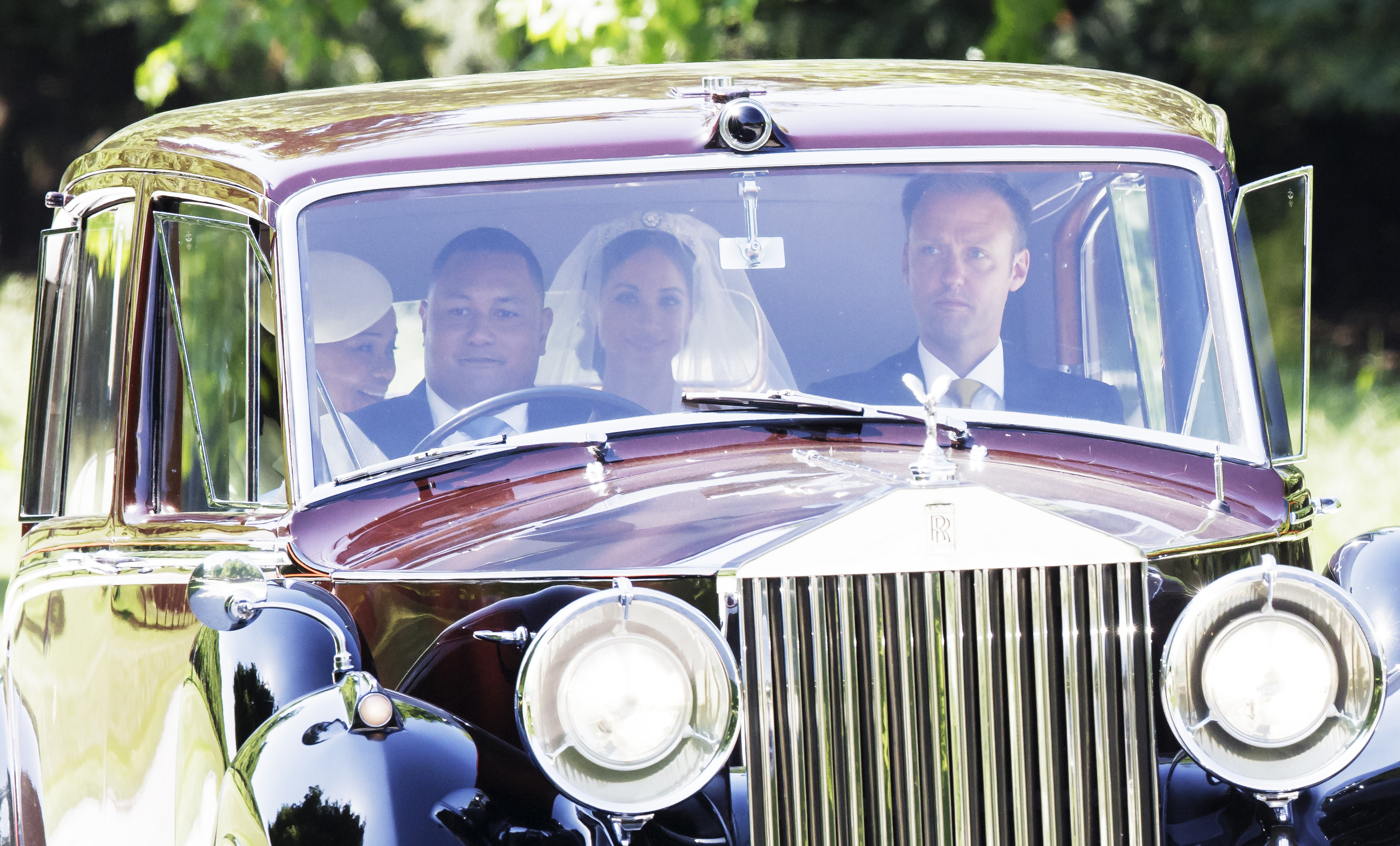 Meghan Markle al llegar a la capilla para dar el sí ante Harry. (Foto: AP)
