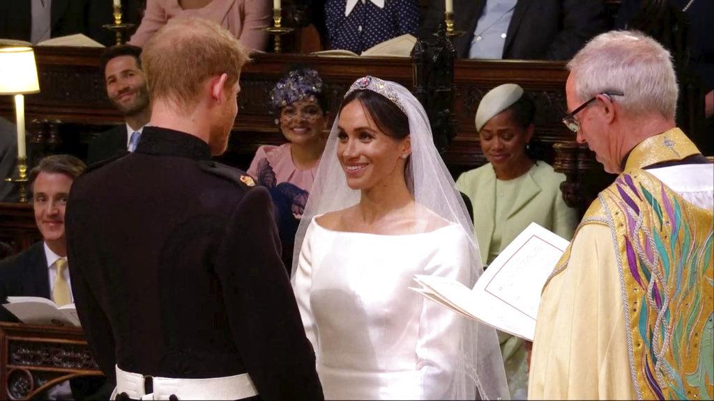 El momento de los votos: Meghan y Harry juraron amarse y respetarse toda la vida. (Foto: AP)
