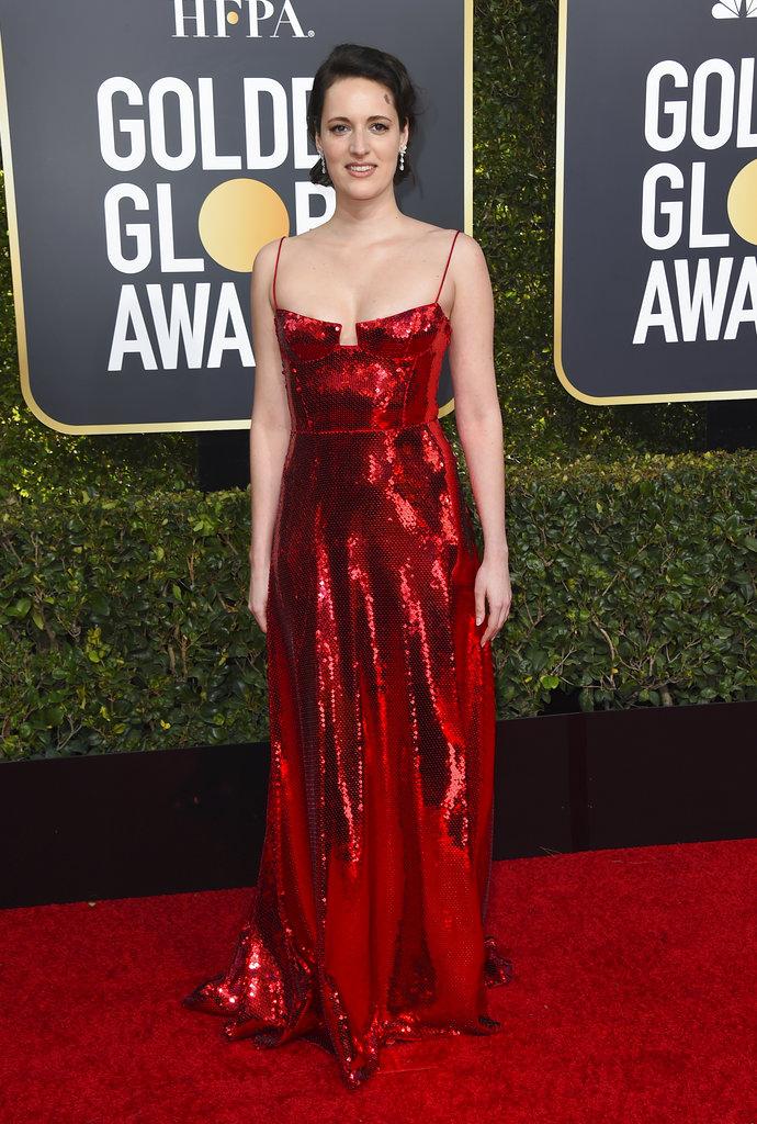 La actriz y directora inglesa Phoebe Waller-Bridge lució un diseño metalizado de Galvan para la alfombra roja de los Golden Globes 2019.