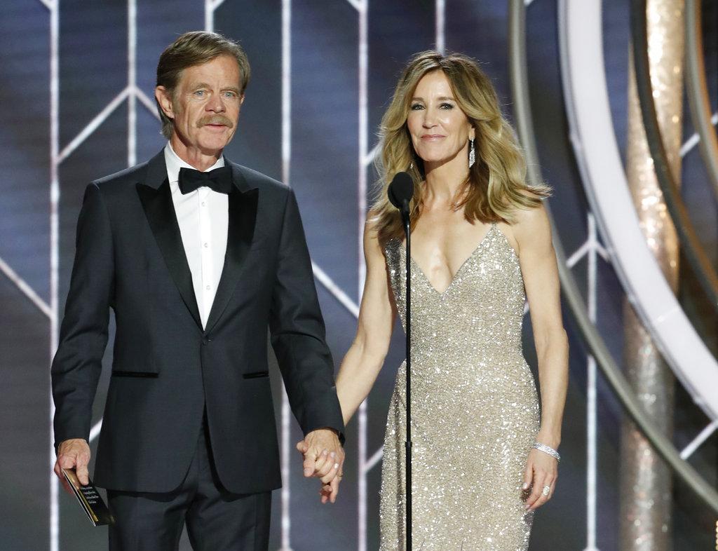 William H. Macy y Felicity Huffman, otra de las parejas más estables de la industria, oficiaron de presentadores de uno de los Golden Globe. (NBC vía AP)
