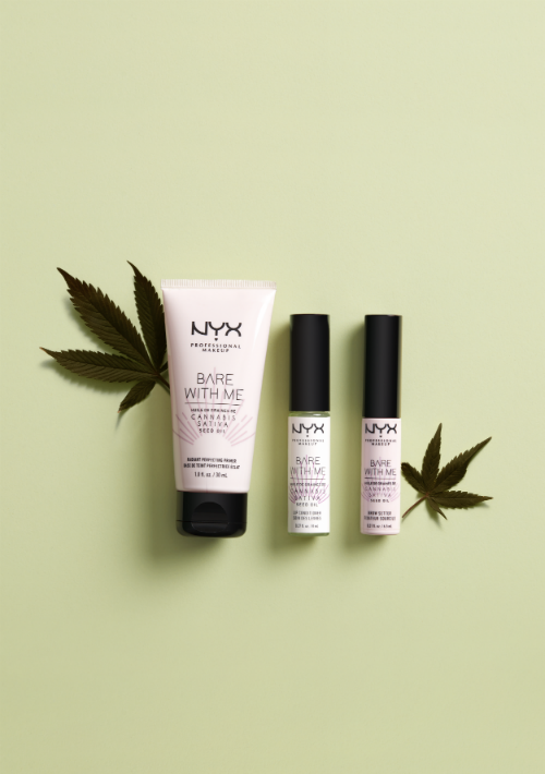 La línea Bare with Me de NYX Professional Makeup, que acaba de sumar cuatro productos a su, los cuales contienen aceite de semilla de cannabis sativa. La colección incluye el Bare with Me Cannabis Sativa Seed Oil Radiant Perfecting Primer, Bare with Me Cannabis Sativa Seed Oil Lip Conditiones y Bare with Me Cannabis Sativa Seed Oil Brow Setter. Disponible en la tienda NYX en Plaza Las Américas. (Suministrada)