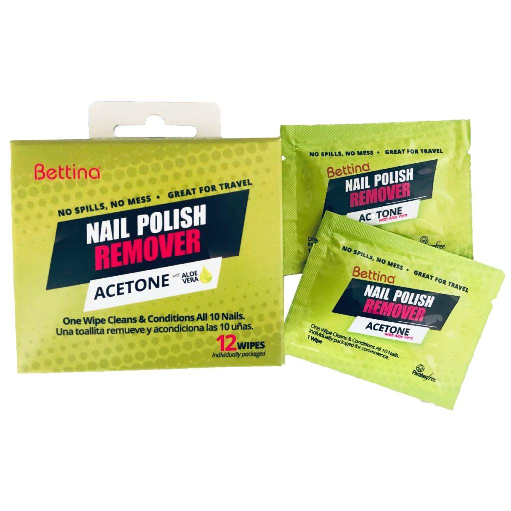 Bettina Acetone Wipes - Estas toallas húmedas te ofrecen el mismo beneficio del removedor de esmaltes sin ocupar mucho espacio y, además, cuentan con ingredientes que acondicionan las uñas. A la venta en farmacias y en la página bettinacosmetics.com. (Suministrada)