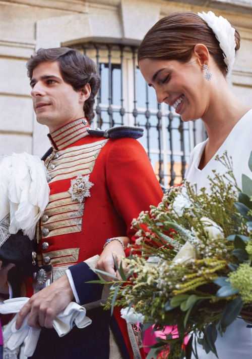 Los novios durante el enlace matrimonial. (Foto: EFE)
