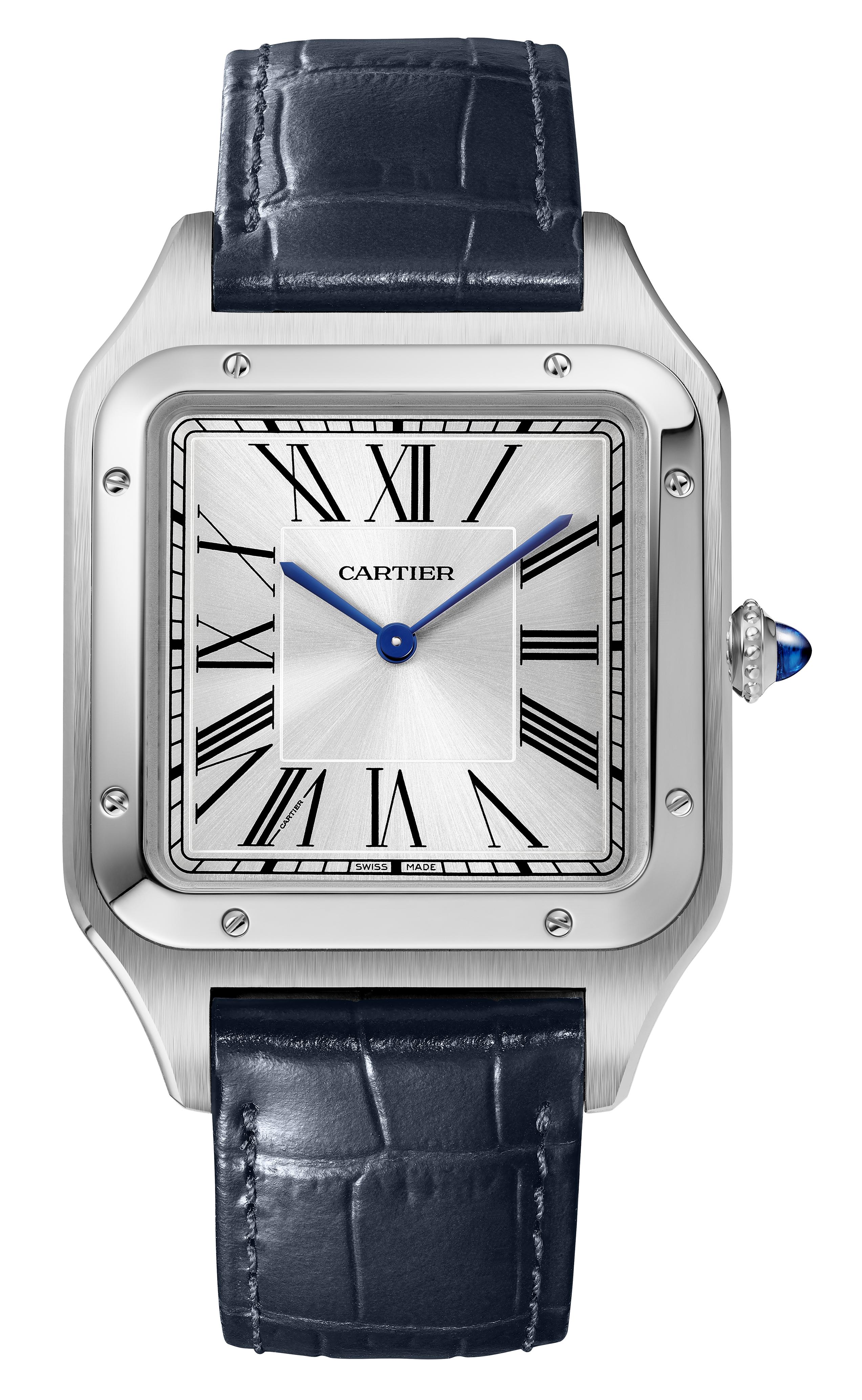 Reloj Cartier – Este modelo Santos Dumont XL en acero tiene correa en piel de caimán. Su historia, la pureza de sus líneas y la belleza de su movimiento mecánico de cuerda manual se unen para convertirse en un excelente regalo. Disponible en la boutique Cartier en Condado. (Suministrada)
