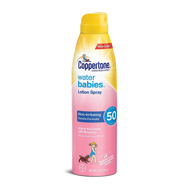 Coppertone Water Babies Lotion Spray SPF 50 - Una fórmula con amplio espectro que ayuda a proteger la piel de los bebés y niños mientras juegan bajo el sol. (Suministrada)