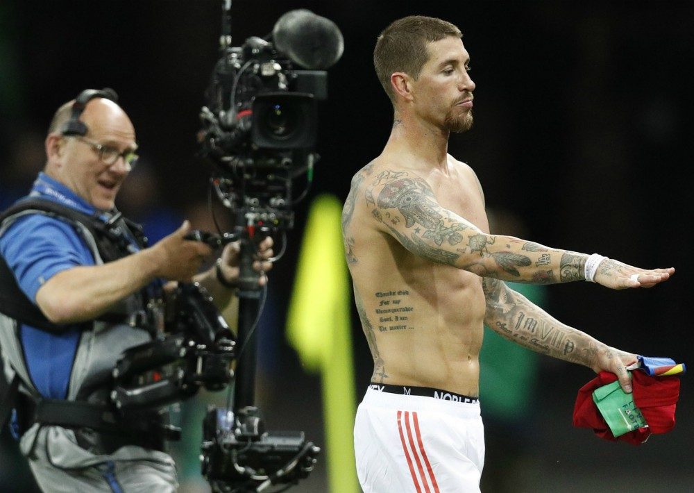 Sergio Ramos al termino del partido que enfrentó a España con Irán en Kazán. (EFE)