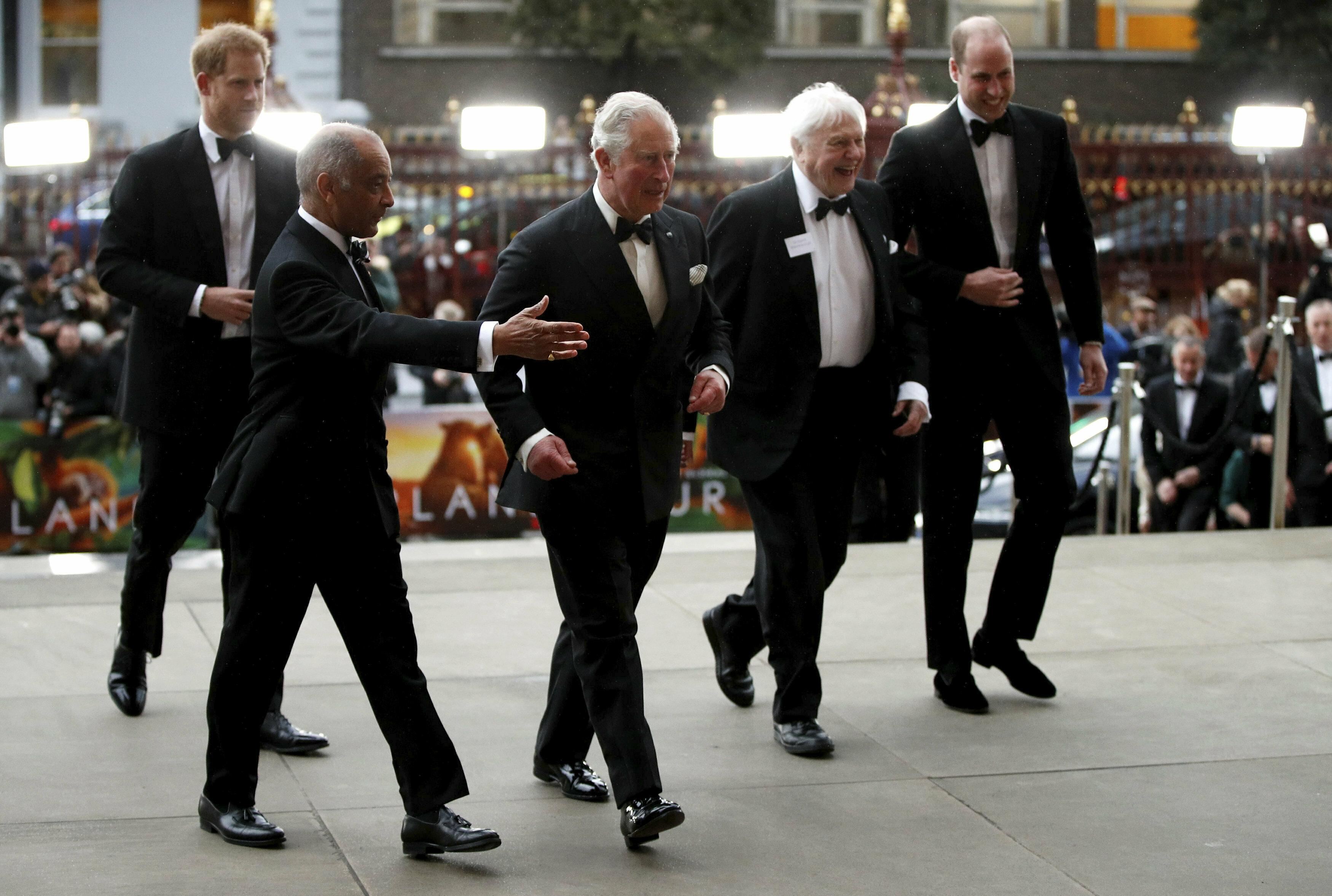 """El príncipe Charles de Inglaterra asistió al estreno mundial del documental """"Our Planet"""" acompañado por sus hijos, William y Harry. (AP)"""