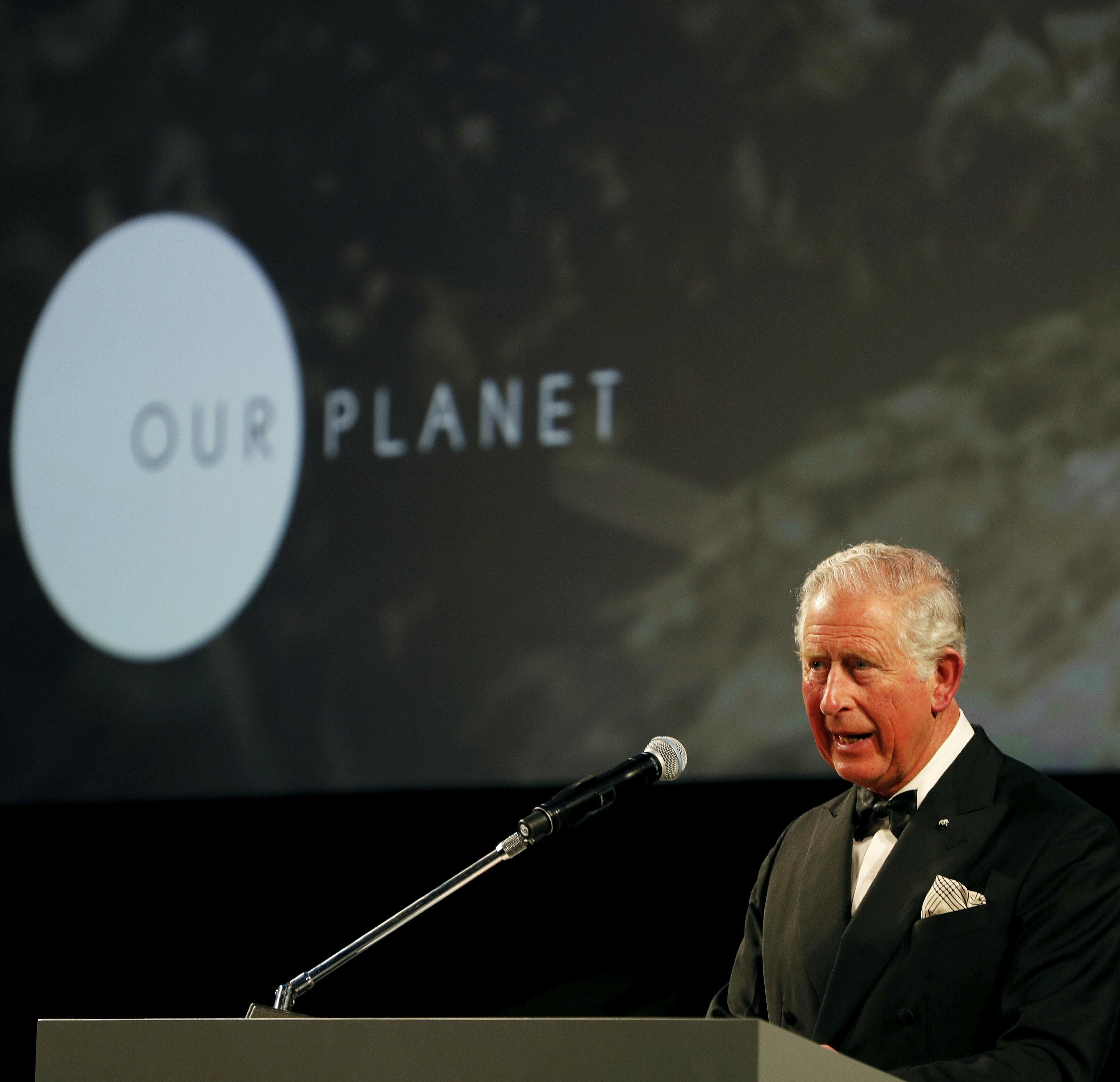 Charles se dirigió a los asistentes al estreno. El príncipe de Gales hizo su primer discurso sobre el medio ambiente en 1968 y desde entonces ha alzado su voz en pro del planeta. (AP)