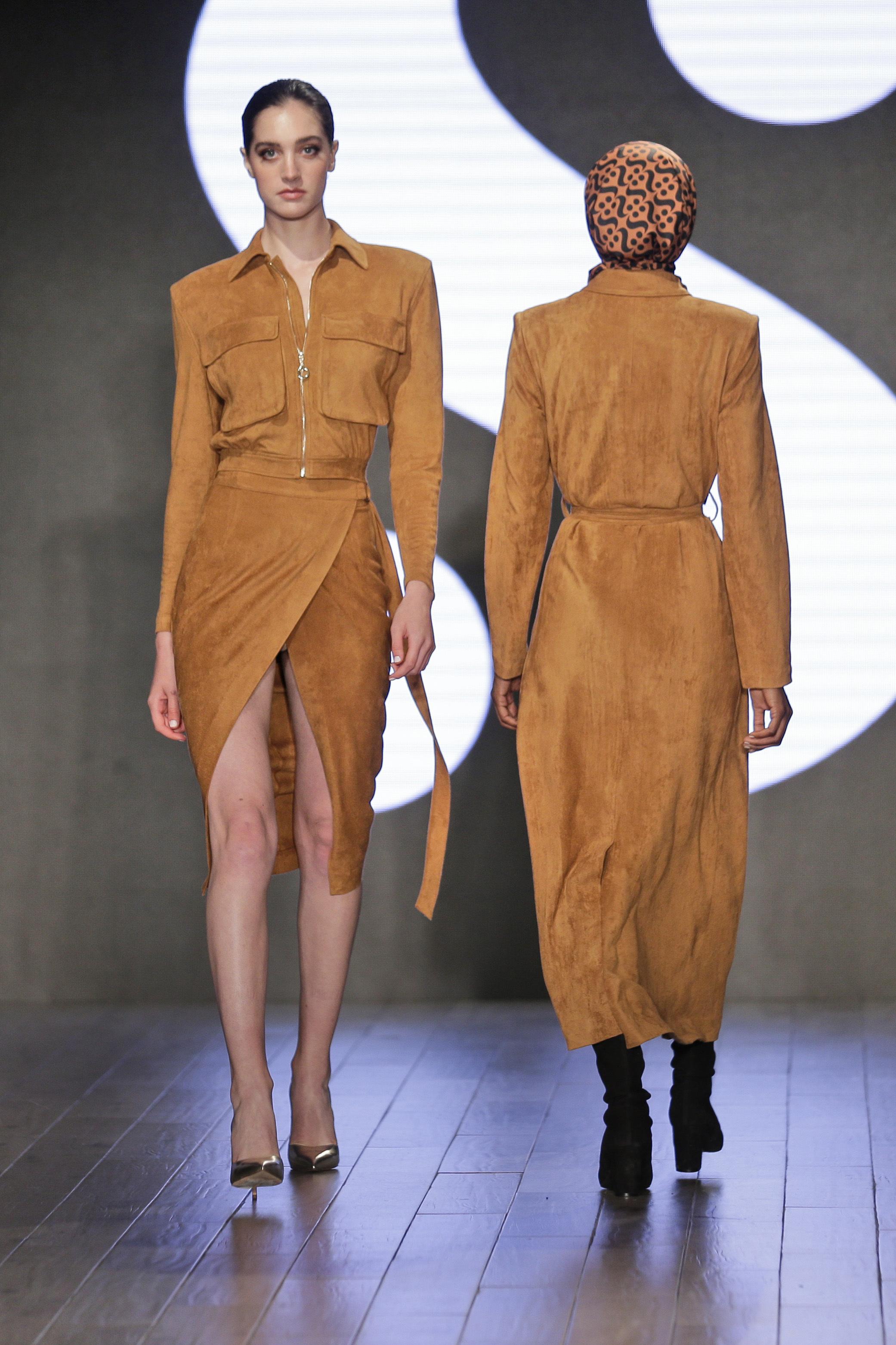 Parte de la colección de Serena Williams presentada en la Semana de la Moda de Nueva York. (AP)