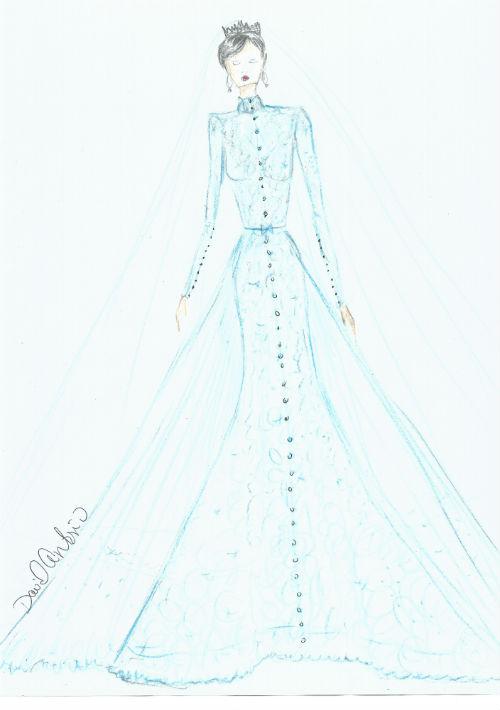 David Antonio. El diseñador creó para Megan Markle un traje en encaje de Chantilly, todo recamado en cristales con una cama de botones desde el cuello hasta el ruedo.  Representa a la nueva generación de la nobleza.