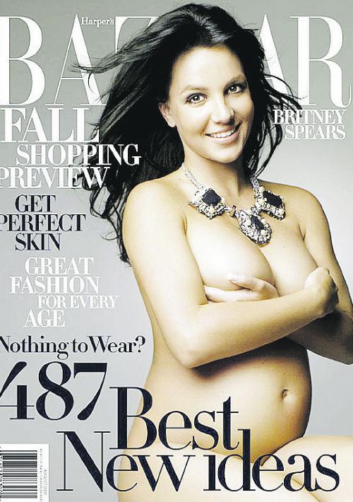 Britney Spears lució su pancita para Harper's Bazaar en 2006. (Archivo)