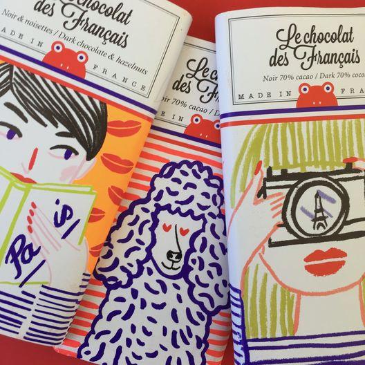 """Las ilustraciones más """"cool"""" de temas alusivos a París y Francia serían suficientes para fascinarme, pero """"Le chocolat des Français"""" es riquísimo también."""