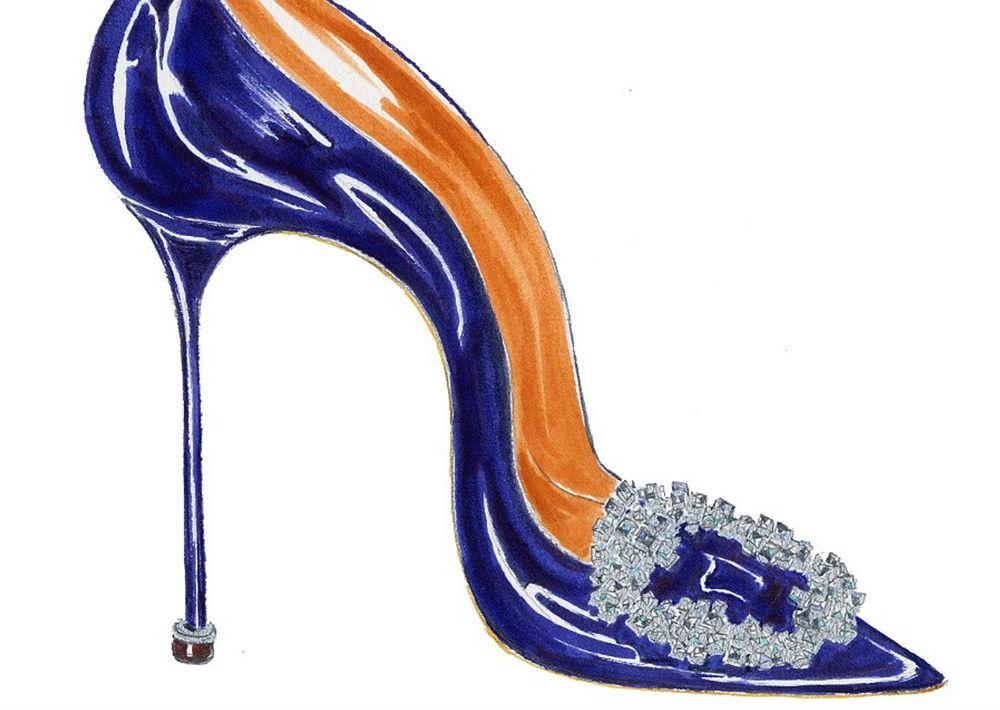 """En 2008, Manolo Blahnik creó su modelo """"Hangisi"""", inspirado en una hebilla de cristal que encontró en uno de sus viajes. Hoy celebra la primera década de este modelo emblemático, con la colección limitada """"A Decade of Love"""". ¡Bellísimo! (Foto: Suministrada)"""