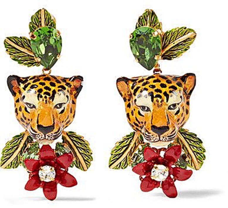 Nadie como Dolce y Gabbana para crear joyería extravagante pero divertida. Me encantan estas pantallas de leopardo muy D & G. (Suministrada)