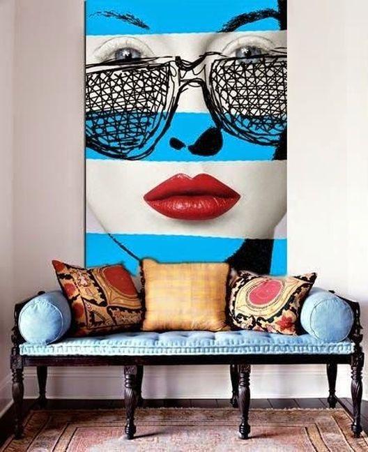 Obsesionada con obras de arte de gran formato, con imágenes en colores brillantes y de clara inspiración Pop-Art, como esta de la artista Chantal Leger. ¡Me encanta!