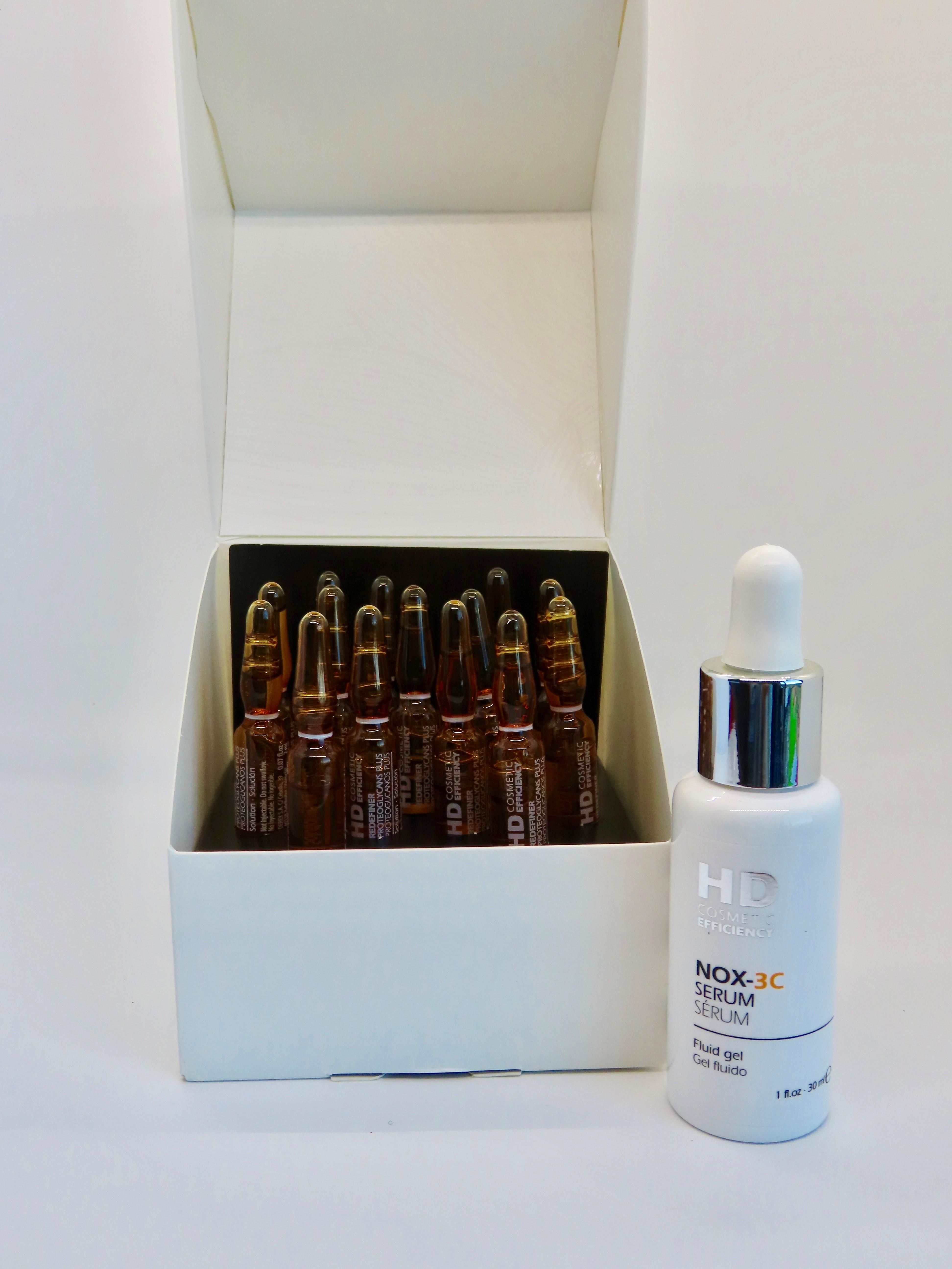Si quieres una piel más hermosa, HD Cosmetic Efficiency te brinda la combinación de las ámpulas NOX-CR15 para unificar el tono de la piel y el suero NOX – 3C que contiene vitamina C, resveratrol, extracto de acerola, y caléndula, entre otros. Busca más información en facebook.com/pg/hddermocosmeticsp (Suministrada)