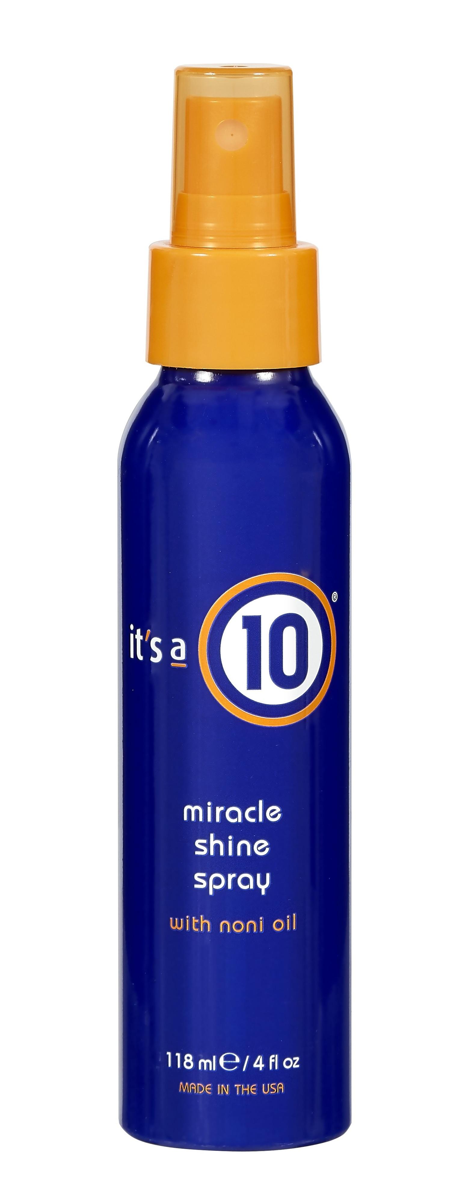It's a 10 Miracle Shine Spray protege y fortalece el cabello. Ayuda a suavizar los estilos rizados y lacios. Entre sus ingredientes mezcla extracto de manzanilla, aminoácidos de seda, extracto de noni, extracto de ylang ylang, aceite de cáñamo, extracto de té rojo, aceite de semilla de babasú. (Suministrada)