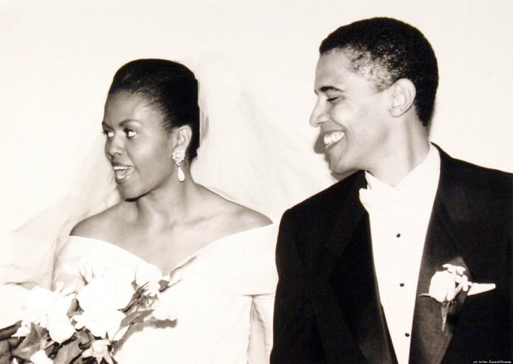 Retrato de la boda de Barack y Michelle Obama, en 1992.
