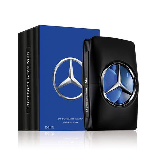 Perfume Mercedes Benz Man, con notas de ámbar, madera y almizcle.