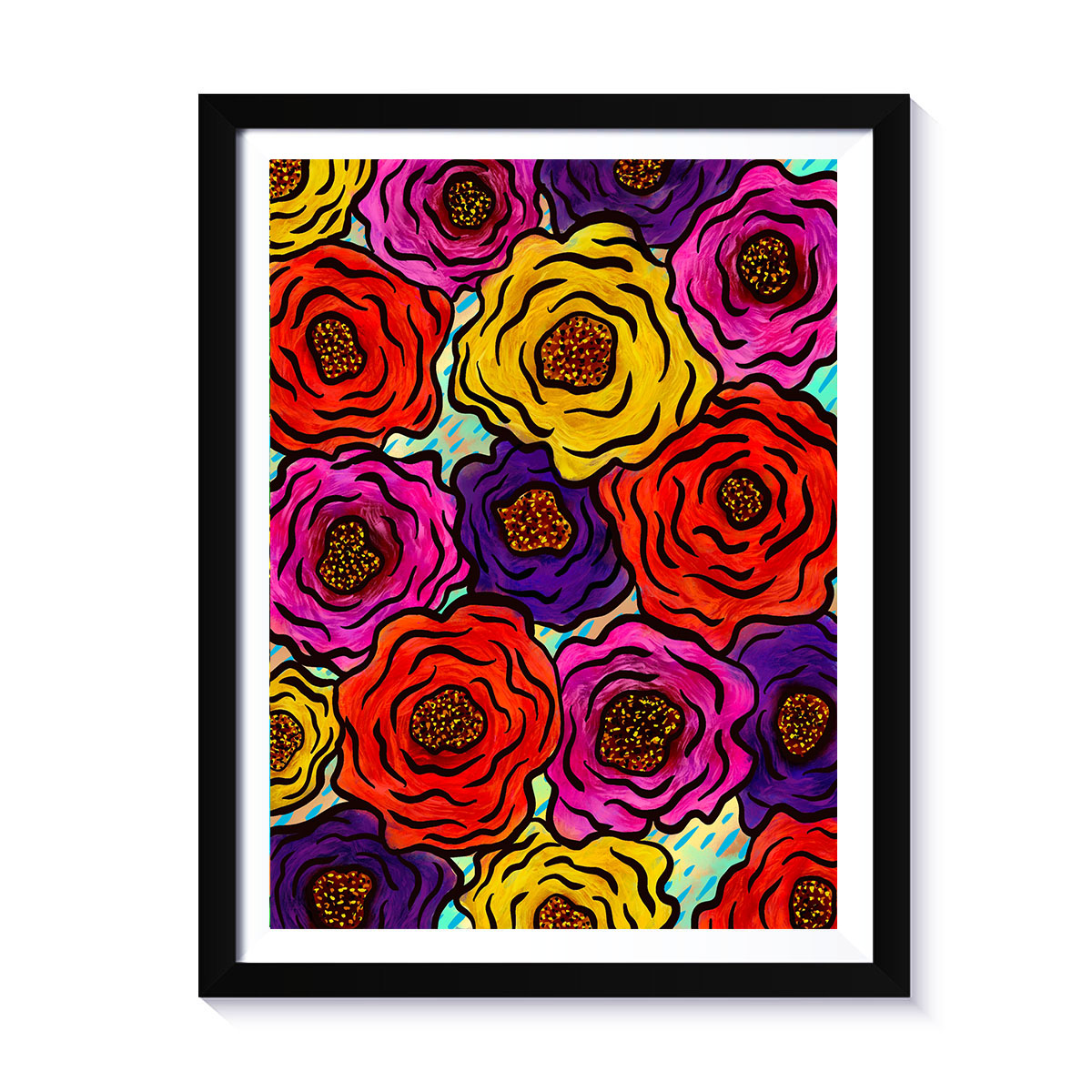 Arte Multicolor Peonys,  print, de la artista puertorriqueña Susana Cacho, www.susanacacho.com.