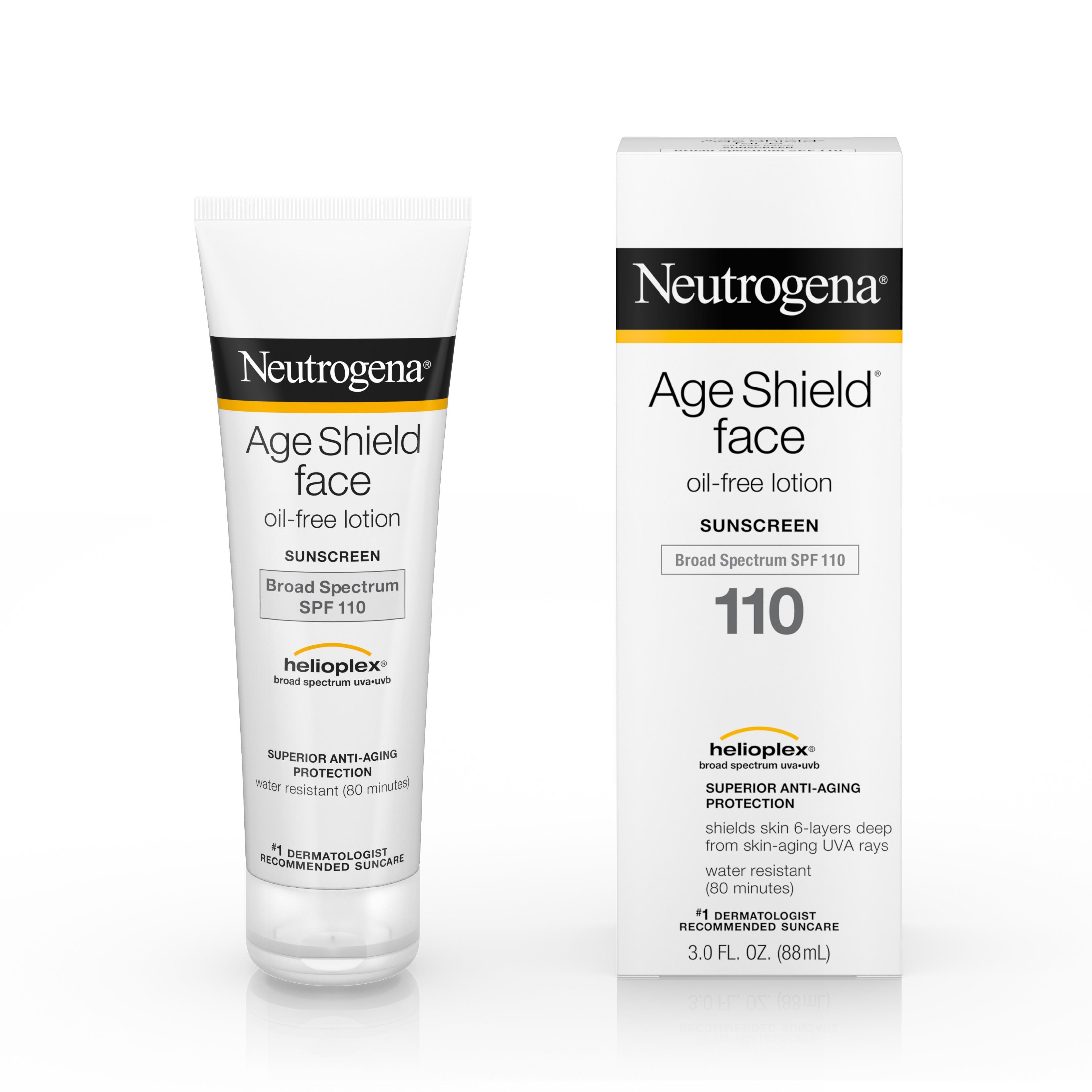 Neutrogena Age Shield Face, Sunscreen Lotion, SPF 110 - Un protector solar de amplio espectro y fórmula ligera para proteger el cutis sin obstruir los poros. (Suministrada)