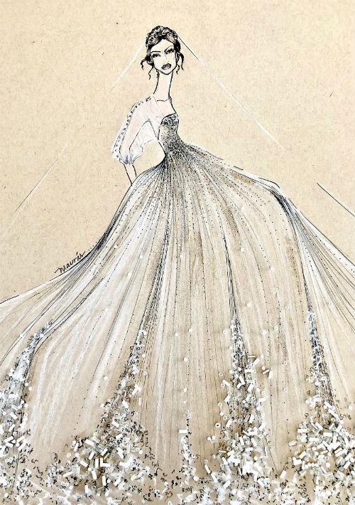 Nicole de Jesús. Al pensar en un vestido de novia para la boda real, Nicole De Jesús, diseñadora de la línea Maurás Bridal, sugiere una silueta vaporosa en la que se imponen las capas de organza de seda plisadas y bordadas con detalles de encaje en el área del ruedo. En el corpiño se destacan los bordados, encajes y drapeados.