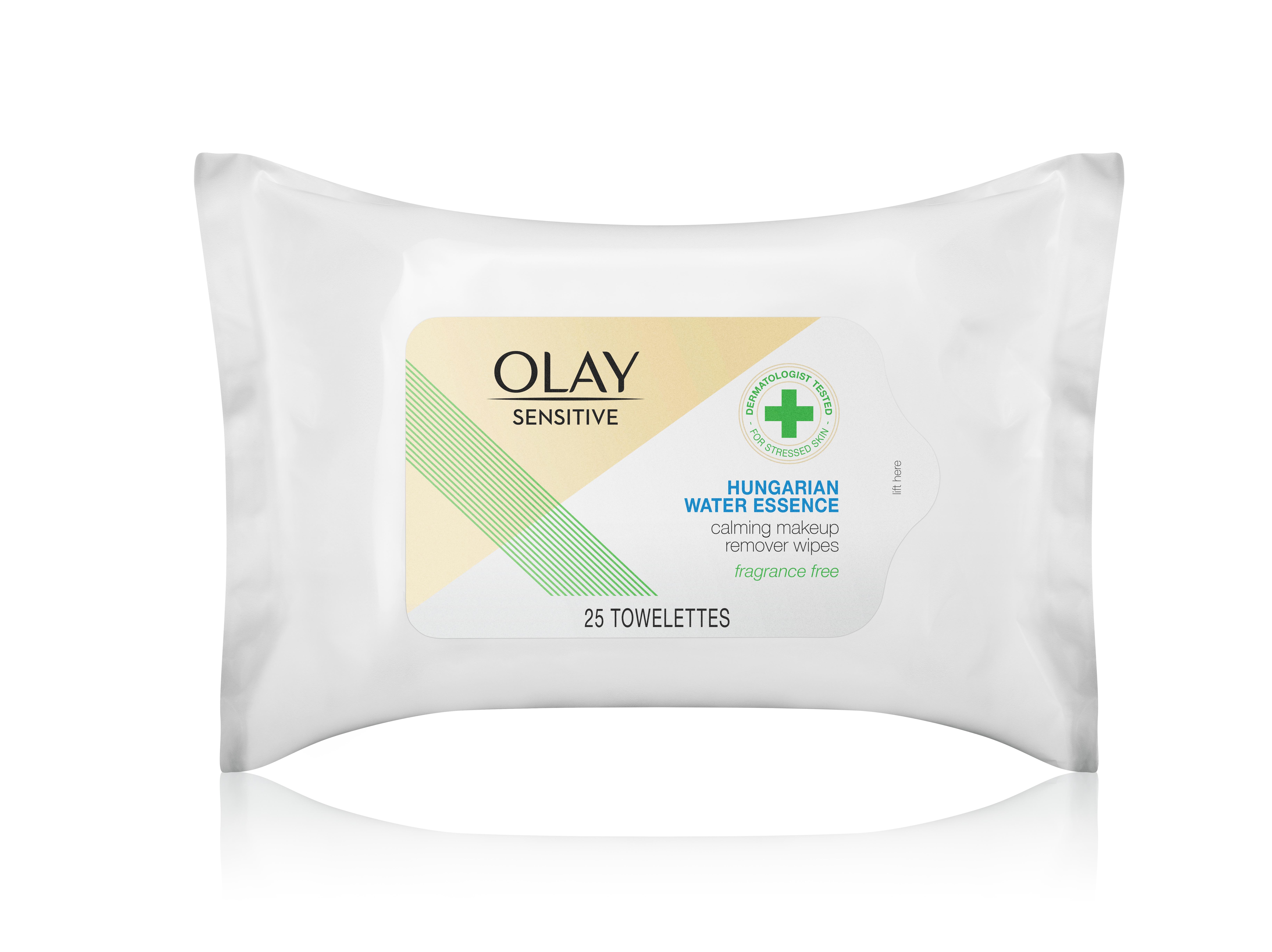 Las toallitas para remover el maquillaje, Olay Calming Makeup Remover Wipes, contienen moléculas limpiadoras de micelar y glicerina para saturar la piel de hidratación inmediata, y calmar y suavizar la superficie. (Suministrada)