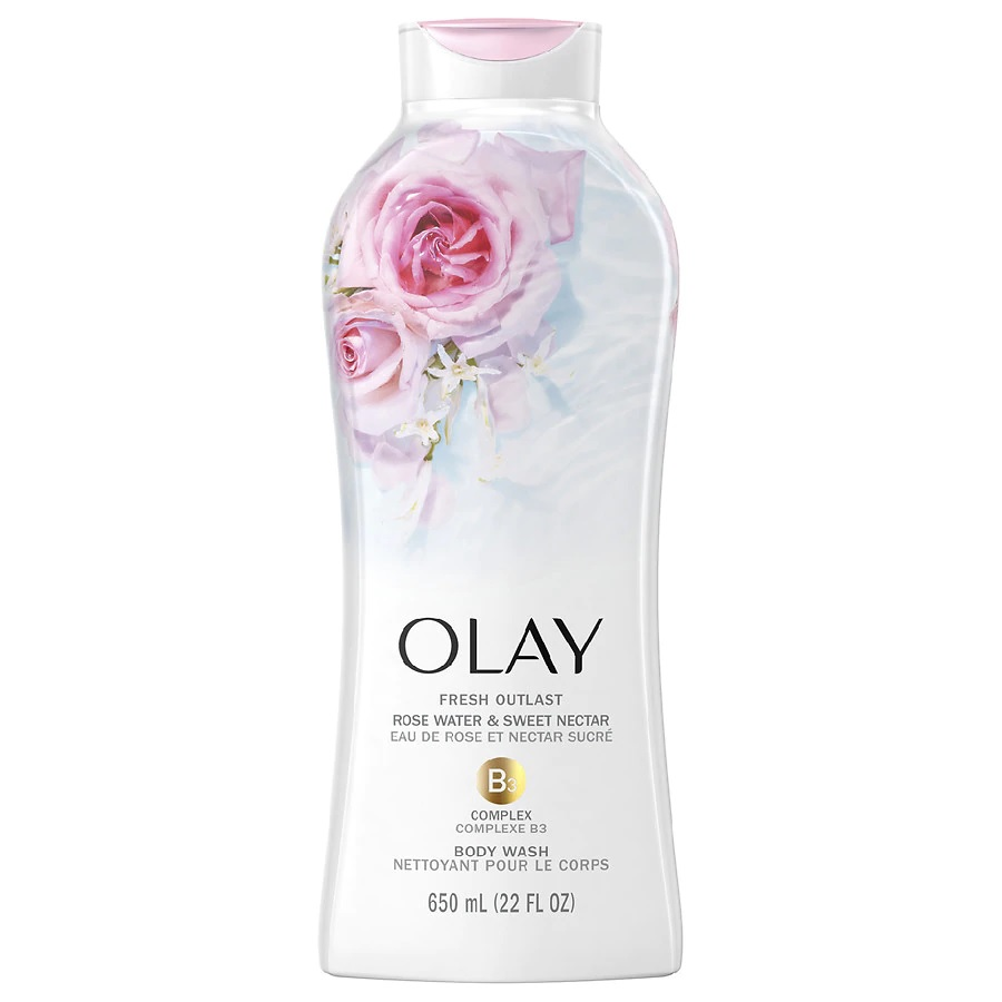 Fresh Outlast Body Wash Rose Water and Sweet Nectar – Un gel de baño de Olay formulado con el complejo de vitamina B3 y el aroma del agua de rosas y el dulce néctar para hidratar la piel de manera más efectiva que cuando usas jabón normal. A la venta en tiendas y farmacias. (Suministrada)
