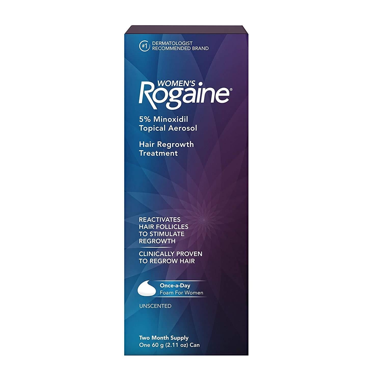 Rogaine Womens Minoxidil Hair Thinning & Loss Treatment Foam – Un tratamiento específico para la caída de cabello en la mujer. Ideal para usar en las primeras etapas del afinamiento del cabello. Está clínicamente probado que regenera hasta un 25% más de cabello. Disponible en farmacias. (Suministrada)