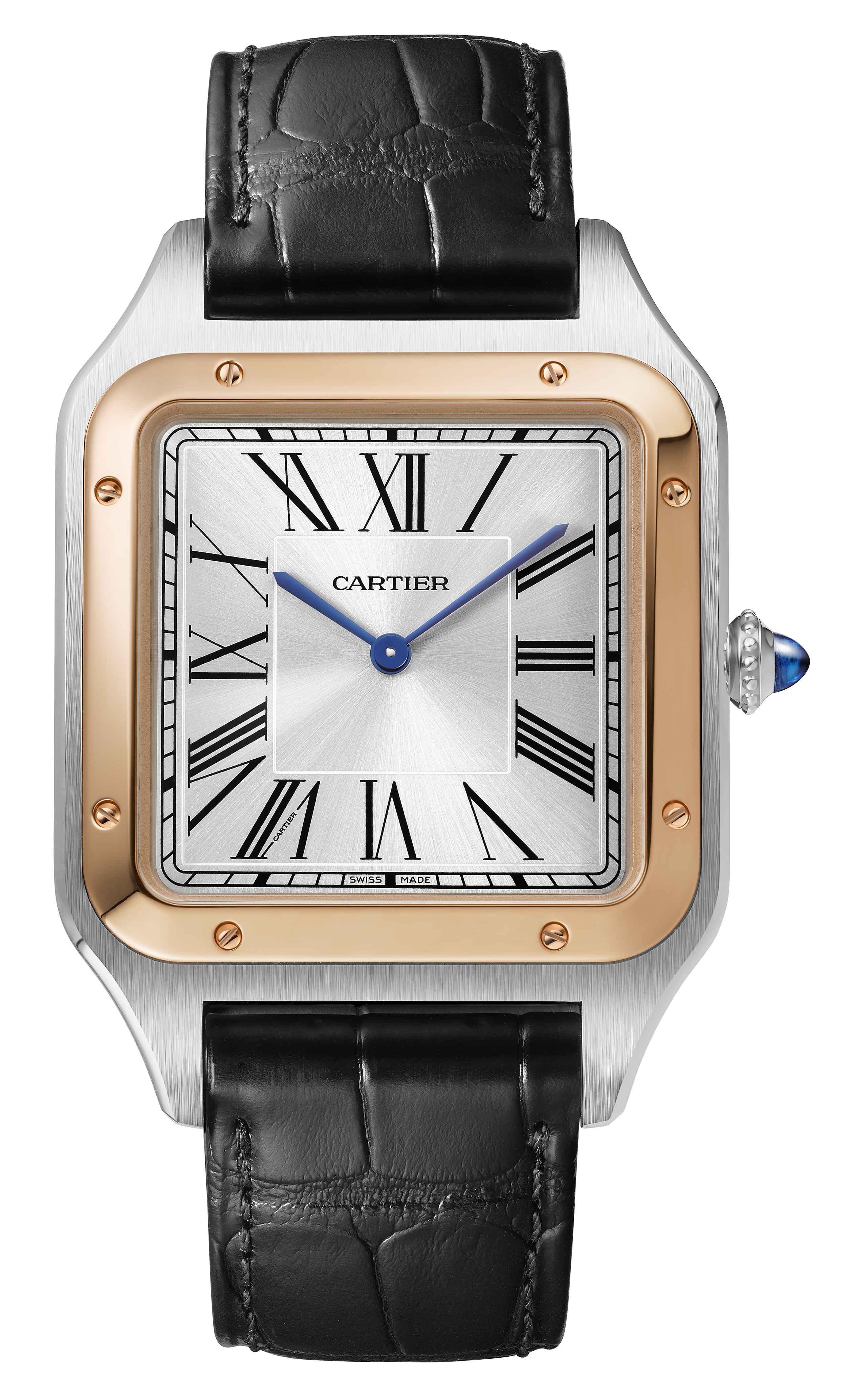 Santos-Dumont de Cartier - Un reloj creado por Louis Cartier en 1904 para su amigo, el aviador Alberto Santos-Dumont. Su forma atemporal ha llevado a la casa de joyería a reinterpretar este estilo que se ha convertido en pieza indispensable para el hombre moderno. Más información en la tienda Cartier, en Condado. (Suministrada)