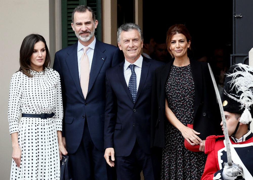 Los reyes Letizia y Felipe, junto al presidente y la primera dama de Argentina.