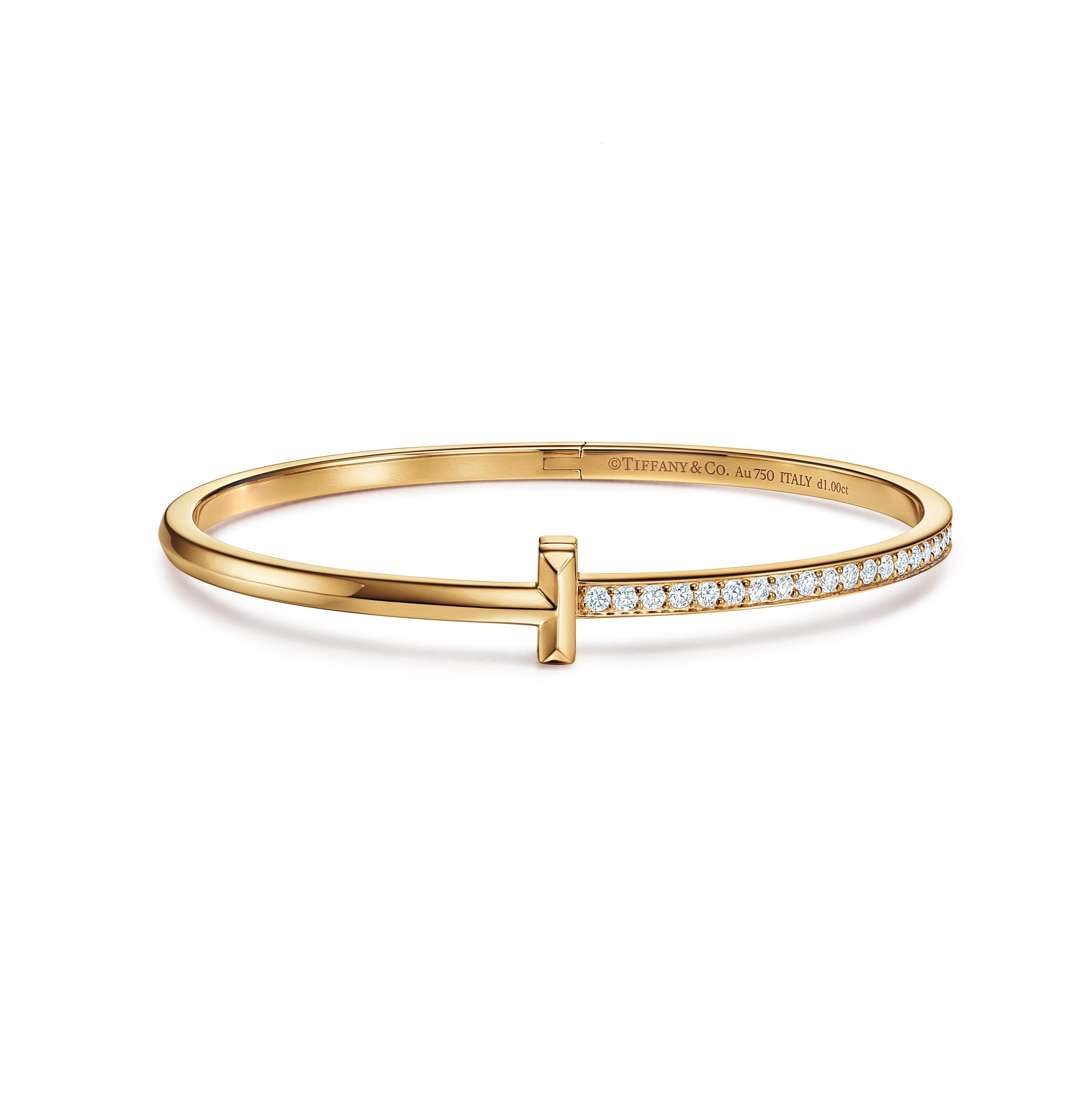 Pulsera Tiffany en oro de 18 quilates y diamantes, de Reinhold Jewelers. (Suministrada)