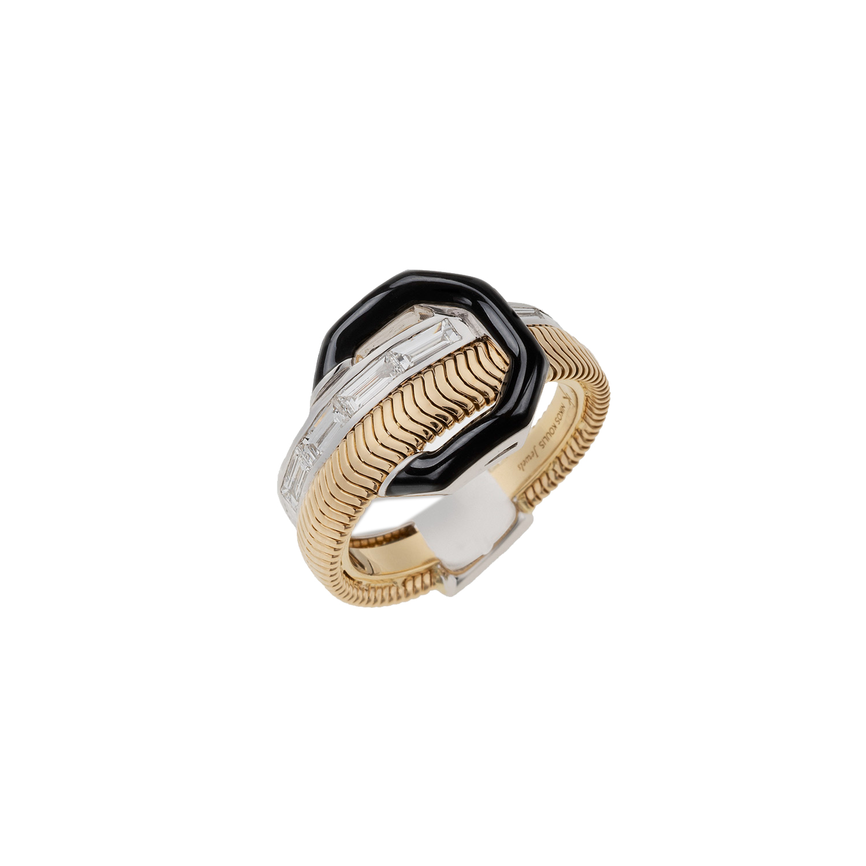 Deja que tus joyas hablen por ti. Sortija en dos tonos metálicos combinados con negro de Nikos Koulis, disponible en Reinhold Jewelers. (Suministrada)