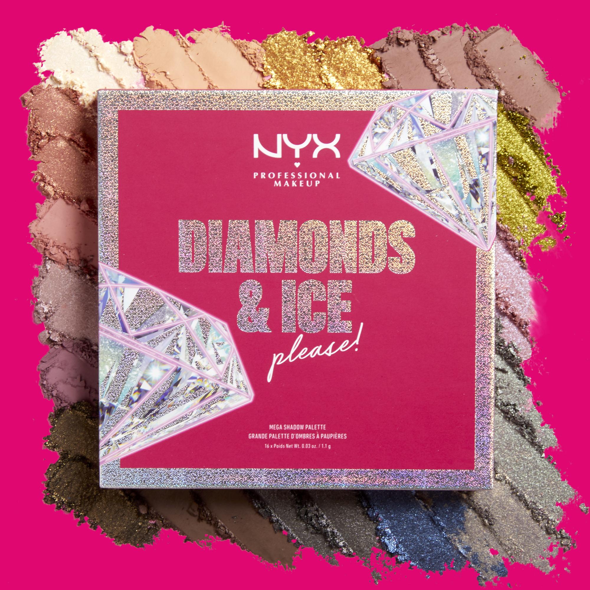 A todo color - NYX Professional Makeup Diamonds & Ice, Please! es una colección de edición limitada, inspirada en los diamantes y contiene productos como la Diamonds & Ice, Please! Mega Shadow Palette, una paleta de sombras con dieciséis tonos en acabado mate, satinado y con brillo. Está disponible en la tienda NYX Professional Makeup de Plaza Las Américas, Walmart, Walgreens y nyxcosmetics.pr. (Suministrada)
