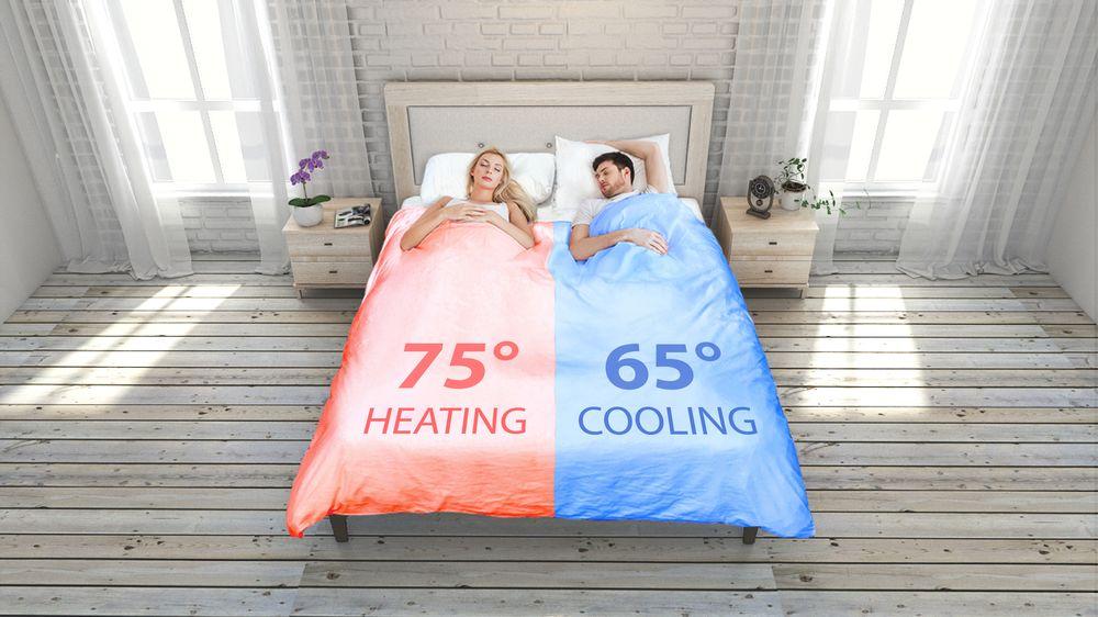 Este sistema permite que una mitad del edredón esté más cálida, a unos 75 grados Fahrenheit y que la otra mitad esté más fresca: a unos 65 grados Fahrenheit. (Foto: Samrtduvet)