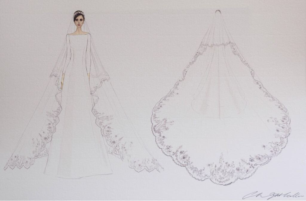 Boceto del traje de novia de Meghan Markle. (Palacio de Kensington)
