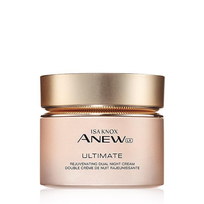 Isa Knox Anew LX Ultimate Rejuvenating Dual Night Cream - Esta crema de noche de Avon cuenta con extracto de peonías como ingrediente principal que se une a la niacinamida y el pantenol para disminuir visiblemente las arrugas y mejorar la apariencia de la textura, el tono y la claridad de la piel. (Suministrada)